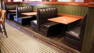 Vinyl Upholstered Restaurant Two-Place Booth Seating, Includes 2 Ends And 2 Double-Sided Middle Booth Benches, 43in x43in x24in (Single Side). 43in x43in x48in (Double Side), Tables Not Included
