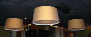 36in Drum Style Three Light Ceiling Fixtures Qty 3, 18.25in Tall, Bidder Responsible For Removal,