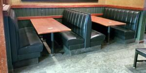 Vinyl Upholstered Restaurant Three-Place Booth Seating, Includes 2 Ends And 1 Double-Sided Middle Booth Benches, 64in x43in x24in (Single Side)