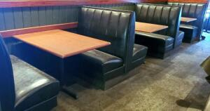 Vinyl Upholstered Restaurant Two-Place Booth Seating, Includes 2 Ends And 2 Double-Sided Middle Booth Benches, 43in x43in x24in (Single Side) Tables Not Included