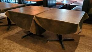 Four-Top Dining Tables With Steel Pedestal Bases, Tops Unfinished, Includes Vinyl Tablecloths, Qty 2, 30in x 36in x 36in