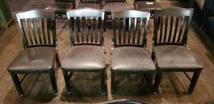 GAR Products Solid Wood Slat Back Chairs With Upholstered Seats Qty 4, Seat Hight 17.5in, Back Height 34in