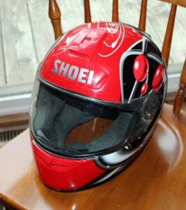 Shoei Motorcycle Helmet, DOT Snell Approved, Size Not Marked