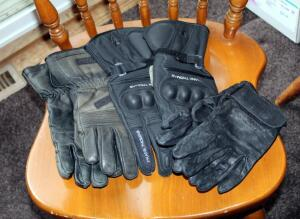 Olympia Wind Tex Leather Gloves Size Small, Frank Thomas Kevlar Riding Gloves With Knuckle Guards Size XXL, And First Gear Leather Riding Gloves, Total Qty 3 Pairs