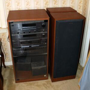 Sony Stereo System Including Integrated Stereo Amplifier ModelTA-AV421, AM/FM Tuner ST-JX421, Stereo Cassette Deck Model TC-W421, CD Player Model, CDP-221, Speakers Model SS-U4-21AV Qty 2, Speakers Model SS-U31 Qty 2, And Glass Front Stereo Cabinet 37in x