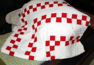 Handstitched Red And White Checkered Patch Quilt With Flannel Side Panels, 74in x 60in