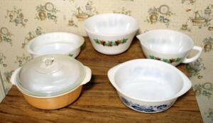Vintage Federal Milk Glass Maple Leaf Pattern Dishes Qty 3, Fire King 2 Qt Lusterware Casserole With Lid, And More, Total Qty 5 Pieces