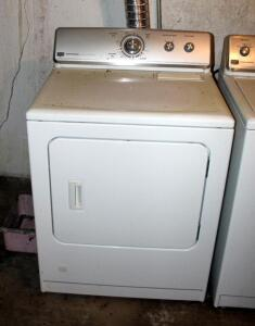 Maytag Centennial Natural Gas Dryer, Model MGDC400VW0, With Commercial Technology, Powers On, Bidder Responsible For Proper Removal