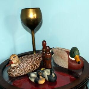 Hand Carved Mallard Drake And Hen By Charles Dixon, Wood Duck Calls Qty 3, Porcelain Duck Figures Qty 2, And Brass Chalice 12in Tall