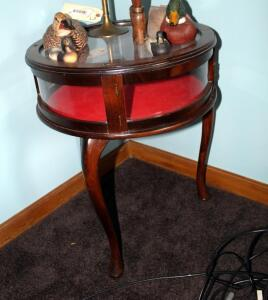 Round Display Cabinet With Glass Top, Sides, Cabriole Legs And Tassel Pull, 24.5in x 20in Round, Leg May Need Repair, Contents Not Included