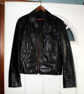 Vintage Mens Leather Jacket, Size Not Marked, Appears To Be Size Small
