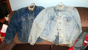 Vintage Mens Levi Strauss And Co Jean Jacket Size 48, And Lee Lined Jean Jacket With Corduroy Collar