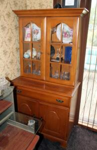 Two Piece Glass Front China Hutch With Single Drawer And Lower Storage, 67.5in x 34in x 18in, Contents Not Included
