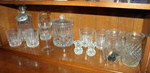 Cut Glass Assortment Including Decanter, Rocks Glasses, Lidded Canister, Vases, And More, Contents Of Shelf