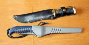 Original Bowie Knife With Sheath And Buck 223 Filet Knife In Case