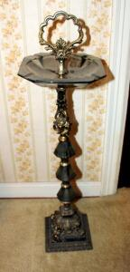 Vintage Smoked Glass And Metal Pedestal Ashtray, 30in Tall