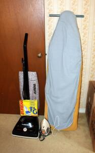 Eureka The Boss Triple Filter Vacuum, Black And Decker Iron, And Vintage Ironing Board