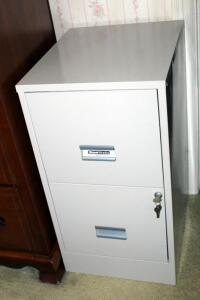 Steel Works 2 Drawer Locking Metal Filing Cabinet, Includes Key, 28.5in x 15in x 18in