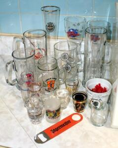 Barware Collection Including Beer Glasses, Shot Glasses, Jagermeister Bottle Opener, And More