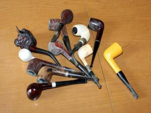 Pipe Collection Including Hand Carved, Ceramic, Figural, And More, Total Qty 12 Pipes