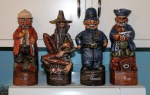 Albertas Ceramic Liquor Decanters Including Booze, Rum, Gin, Moonshine, Total Qty 4 Pieces