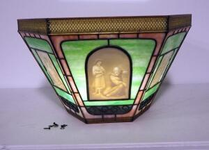 "Vintage Belleck Lithophane Ceiling Mounted Light, With 6 Lithophane Panels, Images Appear When Backlit, Approx 14.5"" High x 24"" Wide"