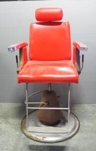 Vintage Koken Barber Chair, Spins, Tilts, Adjustable Height, Ash Tray In Arm