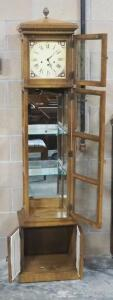 Ridgeway Grandfather Clock, With Illuminated Cabinet, Powers On, 2 Glass Shelves, Beveled Glass Sides, No Winding Key