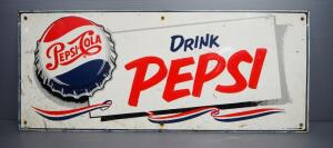 "Vintage Drink Pepsi Tin Sign, 27.5"" Wide x 11.25"" High"