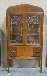 "Vintage China Cabinet With 2 Glass Doors, 2 Shelves And 1 Lower Drawer, 69"" High x 36"" Wide x 15.5"" Deep"