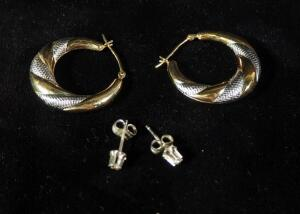 Gold Earrings, 2 Pairs, 1 Marked 10K, Other Marked 14K On Backing With Stones, 3.3g Total Weight Including Stones