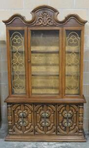 "Vintage Illuminated China Cabinet With Single Glass Door On Hutch, 2 Shelves, And Lower Storage Area, 81"" High x 49"" Wide x 16.5"" Deep"