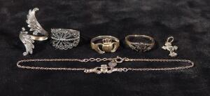 Sterling Silver Jewelry, Includes 4 Rings, Bracelet And Pendant, 16.13 g Total Weight