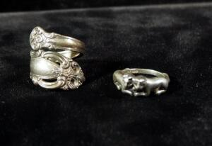 Sterling Silver Rings, One Is Expandable, Size 5, Other With Cat Design, Size 5-3/4, 11 g Total Weight