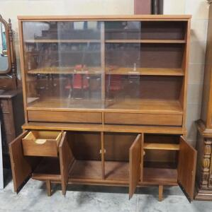 "Stanley Mid Century Display Cabinet With 3 Display Compartments Behind Sliding Glass Doors, Lower Storage Area And Drawers, 65"" H x 56.5"" W x 17"" D"
