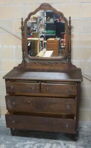 "Antique 4-Drawer Dresser With Pivoting Mirror, On Wheels, Dovetail Construction, 72"" High x 40"" Wide x 18.5"" Deep"