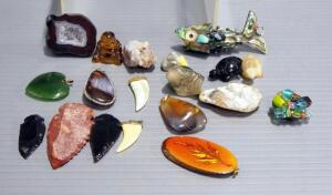 Rock And Mineral Decor And Jewelry, Includes Stone Critters, Pendents Of Various Materials, Projectile Points, Geode And More, Total Qty 19
