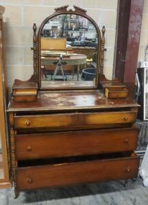 "Antique 3-Drawer Dresser, With 2 Upper Storage Drawers And Pivoting Mirror, 72"" High x 48"" Wide x 21"" Deep, On Wheels"