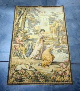"Tapestry With Image Of Colonial People In Outdoor Setting, 49"" Wide x 76"" Long"