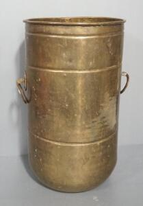 "Brass Pot With 2 Side Handles, 20.5"" High x 12"" Dia. Rounded Bottom"