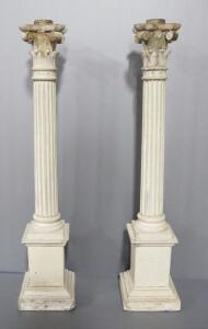 "Corinthian Style Column Concrete Candle Stands, Qty 2, 1 With Chipped Corner, 31"" High"