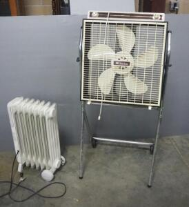 "Lakewood 1500 W Radiant Heater And Citation 3-Speed 20"" Box Fan On Rolling Stand, Both Power On"