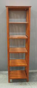 "5-Shelf Display Stand With Slat Rail Sides, 63"" High x 19.25"" Wide x 15.5"" Deep"