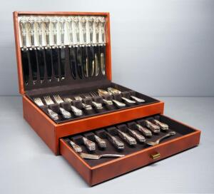 Wm. A. Rogers Oneida Sectional Flatware, Approx 76 Pieces, In Chest With Flip-Top And Drawer