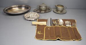 Oneida Community Tudor Plate Flatware, Approx 25-Piece Set, And Silverplate And Pewter Trays And Serving Pieces