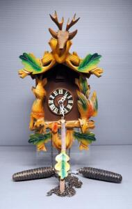Cuckoo-Clock With Carved Wood Deer, Rabbit And Bird Design