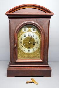G. Hallauer Antique Shelf Clock, With Winding Key And Instructions