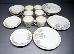 Porsgrund Norway China Tea Set With Cups, Saucers And Dessert Plates, Service For 6, 18 Total Pieces