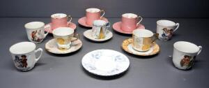 Tea Cup And Saucer Assortment, Includes Aynsley Bone China And More, 10 Cups, 7 Saucers, Total 17 Pieces