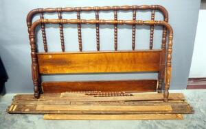 Abernathy Furniture Jenny Lind Full Size Bed Frame, Includes Headboard, Footboard, Side Rails And Slats, Needs Some Repair